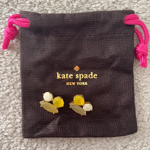 Kate Spade yellow and gold statement earrings